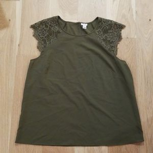 J.Crew olive green  lace detail blouse cap sleeve